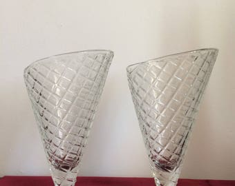 Amazing vintage glass ice cream shaped bowls dishes cones 1950s 1960s 1980s made in Italy Italian
