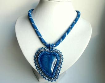 Agate Embroidered Pendant , Vintage Style , Seed Beads Necklace,  stone pendant, Blue heart  pendant.