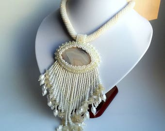 Agate Beadwork Necklace, Seed Bead Necklace, Gemstone necklace, beige necklace, natural Pearl necklace