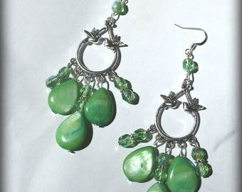 Green and light green Dove earrings wedding