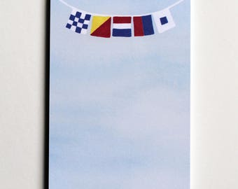 "Signal Flag Notepad, flags spell ""NOTES"""