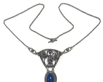 Layaway for Vanessa #5 Antique Arts and Crafts Period Sterling Silver Blue Stone Necklace