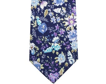 8cm Cotton Floral Ties in Bluish-Purple with matching Pocket Square