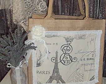 """Paris inspired  Burlap  Bag 12"""" x 12 """""""