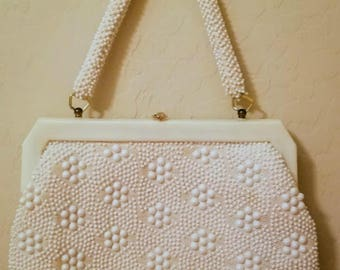 READY Vintage White Beaded  Purse /  Lucite Hardware