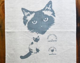 Linen Tea Towel Seal Point Birman Ragdoll Pickle Cat. Hand Printed. Oatmeal 1.