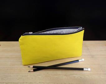 Étui à crayon jaune, petite pochette jaune avec fermeture à glissière, Trousse jaune, trousse, pochette à crayon, approvisionnement de l'école, cadeau étudiant
