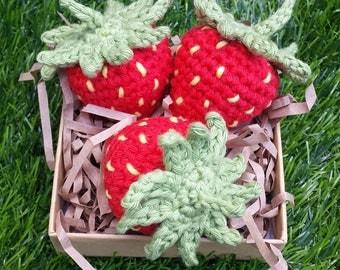 x3 Crochet Strawberries