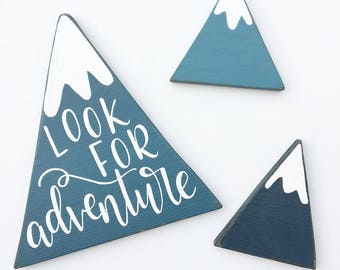 Hand Lettered Whimsical Ombre Teal Mountains - Set of Three