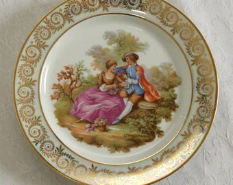 Vintage decorative Limoges Fragonard Plate, Tale of two lovers, Fine Bone China Plate with Gold Gild, Decorative Limoges Plate, Fragonard