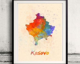 Kosovo- Map in watercolor - Fine Art Print Glicee Poster Decor Home Gift Illustration Wall Art Countries Colorful - SKU 2341