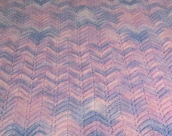 Ripple Knit Baby Afghan in Variegated Pink and Blue