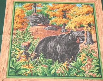 Black Bear Fabric Panel, Blended Fabric, Pillow Squares Fabric, Quilt Pieces
