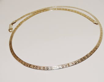 """Sterling Silver Herringbone Chain One Side Is Engraved With """"I LOVE YOU"""" All Around Design."""