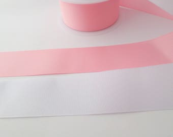 38mm wide grosgrain ribbon pink / white for cakes, hair bows, gift wrap ribbon