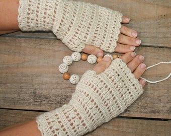 Womens fingerless gloves Knitted boho gloves Wool wrist warmers Boho crochet arm warmers Ladies winter gloves handmade Fingerless mittens