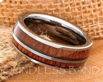 Hawaiian Koa Wood Inlay Ring Double Wood Inlay Tungsten Ring Wedding Band Dome Wedding Ring Promise Ring Women Men Tungsten Ring 8mm  New