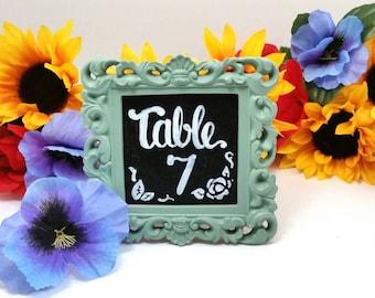 Framed Wedding Chalkboard Table Numbers Custom Hand Lettered / Hand Painted Chalkboard Wedding Table Numbers Sign