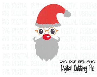 Hipster Santa svg file, Christmas svg design cutting files for silhouette, cricut & more SVG dxf eps png Vinyl Design cut files