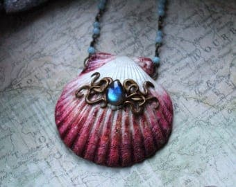 Shell Necklace, Mermaid Necklace, Polymer Clay Pendant, Labradorite Necklace, Aquamarine Necklace, Mermaid Jewelry, Painted shell, Festival