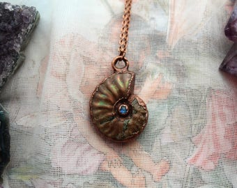 Opalised Ammonite, Ammonite Necklace, Moonstone Necklace, Fossil Necklace, Copper Plated Jewelry, Electroformed Jewelry, Fossil Jewelry