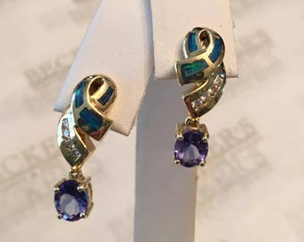 Vintage pair of 14k yellow gold drop earrings with 2 Oval 6mm Tanzanites, Inlay Boulder Opal and 8 Diamonds, all .85 tw, Posts and Backs