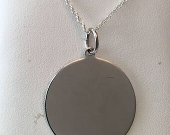 "Vintage Sterling silver 1"" Wide Engraveable Disc Pendant by Elco on a 20"" chain"