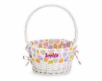 Personalized Easter Egg Basket with Pastel Liner