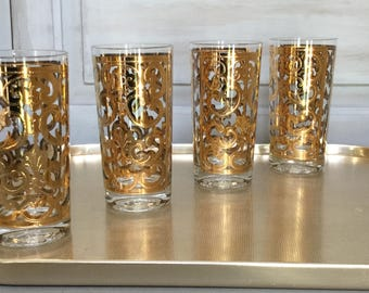 Vintage Gold Highball Glasses / Georges Briard Gold Scroll Tumblers / Set of Four Gold Highball Glasses