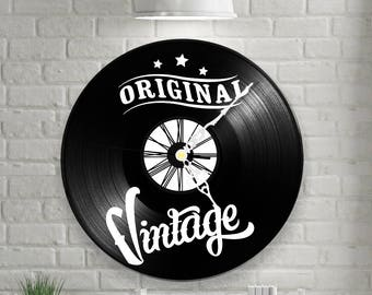 Clock vinyl two layered black & color / / Original Vintage