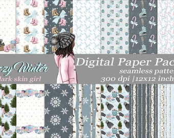 Cozy Winter Dark Skin Girl  Digital Paper Pack Seamless Pattern Craft Paper Winter Designer Paper Scrapbook Supplies  Christmas Birch Tree