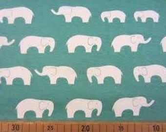 Organic KNIT Cotton Fabric Elephants! Ellie Fam Organic Cotton Interlock Pool Green or Coral
