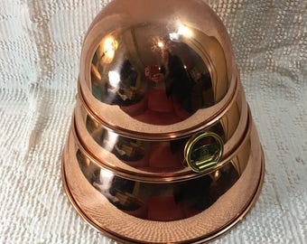 Copper Mixing Bowls - Vintage Copper Mixing Bowls - Hanging Copper Bowls - Vintage Copper Bowls