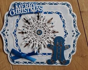 3D Christmas Card Seasons Greetings, Layered Christmas Card, Luxury Christmas Card, Gingerbread Man Christmas Card,
