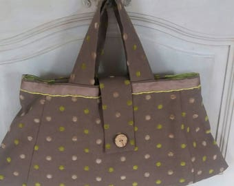 Bag in chocolate and green and orange polka dots linen a line