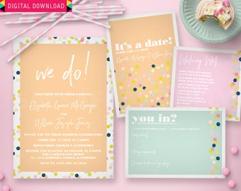 Peachy Keen Wedding Invitation Suite