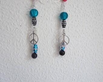 Earrings in Pearl Blue Dragon