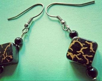 Black and Gold Diamond Earrings Onyx