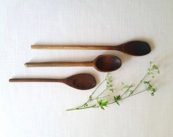 Three Vintage Wooden Spoons . Wood Spoons . Baking Cooking . Kitchen Utensils . Farmhouse Kitchen Decor . Shabby Cottage . Rustic Cabin .