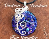 Custom Circle Fused Glass Dichroic Necklace- Reserved for Jennifer
