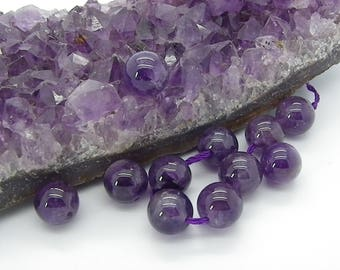 5 beads 12 mm with hole 1 mm natural purple amethyst