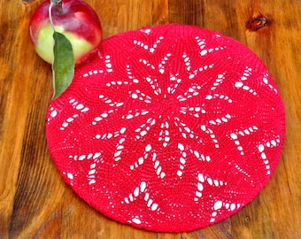 Laced beret - Handmade Lace Cap - Summer beret - Cotton red beret - French beret  - Knit Beret Hat - Summer accessories - Boho