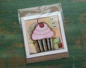 SALE! Cupcake Card, Cupcake Art Card, Cupcake Art, Whimsical Cupcake, Sale Card, Clearance Card, greeting card, note card, Nom nom Cupcake