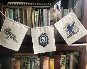 Handmade Machine Embroidered Fabric Edgar Allan Poe-Raven Bunting/ Banner/ Garland Canvas on 5ft. Cotton Line for Book/ Literature Lover