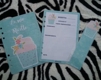 "Planner Set ""my recipes"" sizes: A5/Large planner, Personal/Medium planner, HP classic"