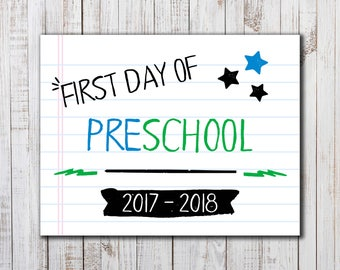 Printable  First Day of School Sign,  Back to School Printable, Boys or Girls Photo Prop, PreSchool Sign, Back to School Photo Prop, Pre-K