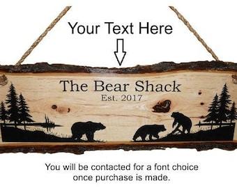 Bear Decor, Bear Sign, Rustic Bear Sign, Personalized Sign, Live Edge Sign, Rustic Wood Sign, Wood Sign, Rustic Sign,  Engraved Sign