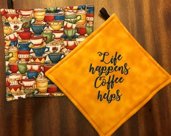 Coffee Embroidered Pot Holders/Hot Pads//Java/Espresso/Cappuccino