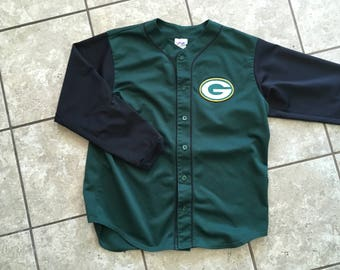Green Bay Packers Majestic Long Sleeve Baseball Jersey XL Black Green