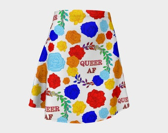 Queer AF - A Beautiful Rainbow Floral Pride Print - Skater Skirt - Rainbow Roses on White